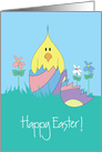 Easter Chick in Broken, Bright Colored Easter Egg with Flowers card