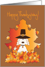 Thanksgiving Dog in Pilgrim Hat, In Pile of Fall Colored Leaves card