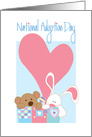 National Adoption Day, Toy Bear and Bunny in Toy Chest & Heart card
