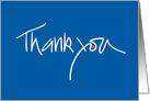Thank you note in cobalt blue with fuchsia dot card