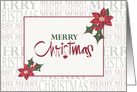 Merry Christmas with Red Poinsettia Hearts card