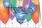 Business Birthday card with colorful balloons and confetti card
