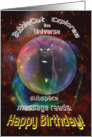 Cat in Space Heart and Soul Nebula Birthday Card