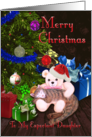 Merry Christmas To My Expectant Daughter Kitty,Teddy,&Christmas Tree card