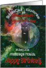 For Husband on Valentines Day Cat in Space Birthday Card
