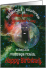 For Sister on Valentines Day Cat in Space Birthday Card
