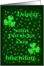 Happy Birthday on St. Patricks Day Bright Shamrocks card