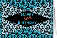 Zebra Print Kaleidoscope Design for 80th Birthday card