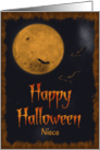 Harvest Moon & Bats Happy Halloween for Niece card