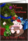 Merry Christmas Partner - Kitty, Teddy-Bear, and Christmas Tree card