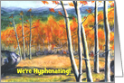 Colorado Aspens in the Fall Scenic Name Change Announcement card