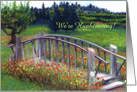 Footbridge and Flowers on Ladybug Lane Name Change Announcement card