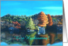 Crisp Autumn Day by the Lake Scenic Name Change Announcement card