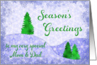 Season�s Greetings Mom & Dad Snowflakes & Trees Christmas card