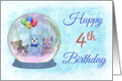 Happy 4th Birthday Snowglobe w/ Blue TeddyBear, Balloons, & Kittens card