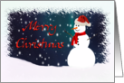 Merry Christmas Snowman Against a Starry Sky card