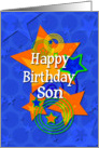 Happy Birthday Son Awesome Boy Stars card