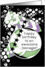 Happy Birthday Awesome Teenager Grunge Chevrons and Stars card