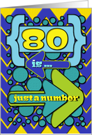Happy 80th Birthday Just a Number Funny Chevrons and Polka Dots card