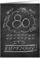 80th Birthday Chalkboard Look Funny card