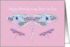Happy Birthday Sister-in-Law with Pretty Dragonflies card