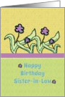 Happy Birthday Sister-in-Law Cheerful Flowers card