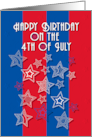 Happy Birthday on the 4th of July Stars and Stripes card