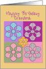 Happy Birthday Grandma Colorful Patchwork Flowers card