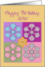 Happy Birthday Sister Colorful Patchwork Flowers card