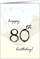 80th birthday greeting relaxing in hammock card