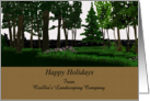 Customizable happy holidays from garden landscaping company to customers, woodland garden card