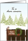 Christmas for cousin, bird and mistletoe wreath on wooden fence, snow on trees card