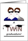 Graduation for twin boys, two graduation caps on word twin card