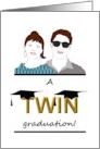 Graduation for twin boy and girl, two graduation caps on word twin card