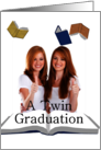 Photo card graduation for twins, books card