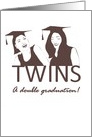 Graduation for twin girls, young ladies wearing graduation caps card