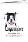 Graduation boston terrier, for son, terrier wearing graduation cap card