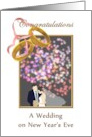 Congratulations wedding on New Year's Eve, bride and groom and fireworks card