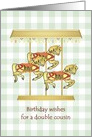 Birthday for double cousin, carousel horses card