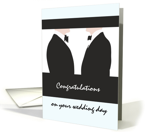 Congratulations gay wedding, two men in black tie facing each other