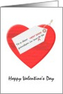 Valentine's Day for grandson in law to be, great big red heart card