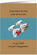 From parents to son on his engagement, A pair of silver cufflinks card