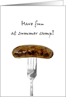 Thinking of you at summer camp, Sausage on a fork card
