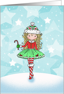 Christmas Card - Little Girl with Candycane card