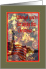Although you're far away this Christmas, patriotic soldier, joyous holiday card