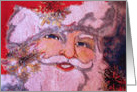 Santa Claus Ho, Ho, Ho, Christmas, Embroidered Santa card