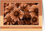 Happy Thanksgiving for Godson - Orange Blanket Flowers card