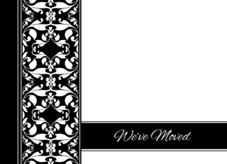 Weve Moved Announcement - Elegant Black and White Damask Greeting Card