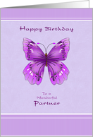 Happy Birthday for Partner - Purple Butterfly card