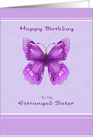 Happy Birthday for Estranged Sister - Purple Butterfly card